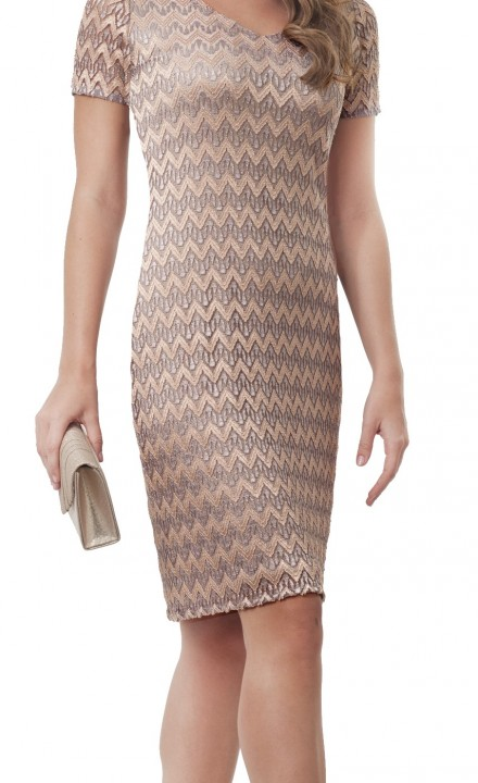 Allison SS20 - Zig Zag Striped Beige Dress